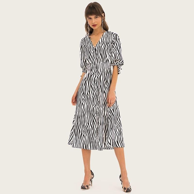 Women's deep-v neck stripe color madi dresses 1