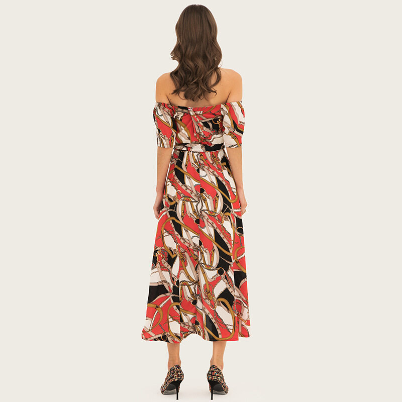 Women's printing elegant off shoulder dresses 3