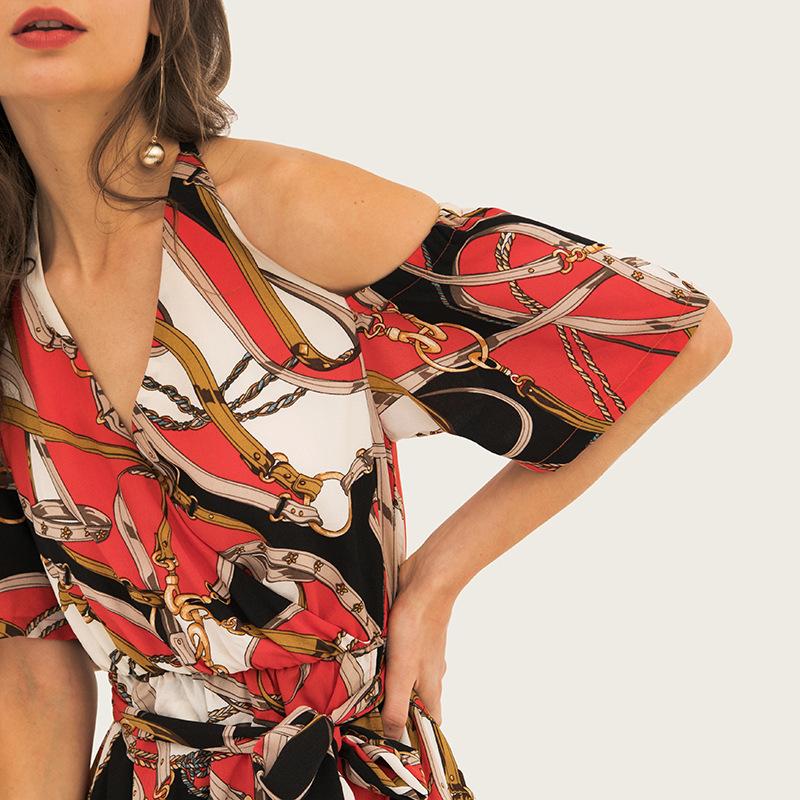 Women's printing elegant off shoulder dresses 4