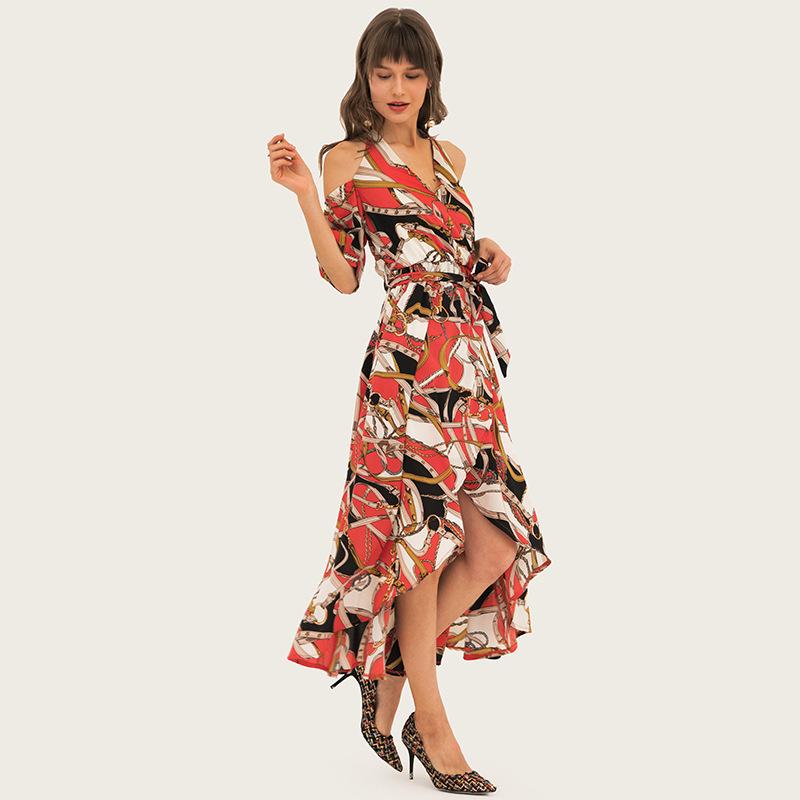 Women's printing elegant off shoulder dresses 0