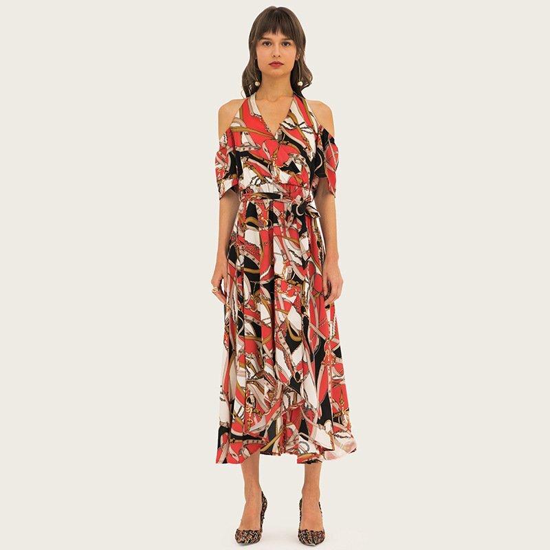 Women's printing elegant off shoulder dresses 2