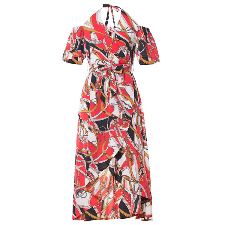 Women's printing elegant off shoulder dresses 5