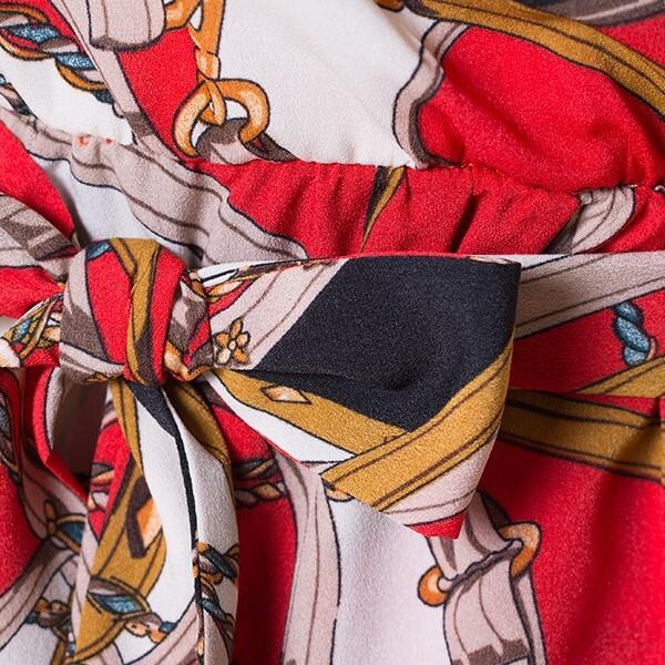 Women's printing elegant off shoulder dresses 6
