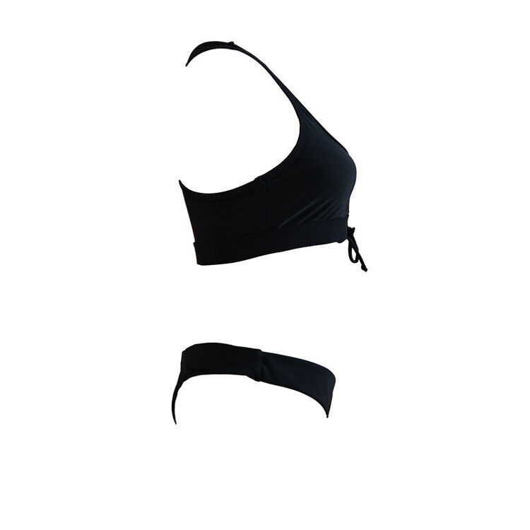 Solid color two piece swimsuits with lace up 6