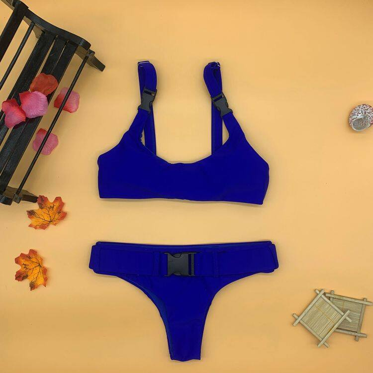 Solid color two piece bikinis with button 2