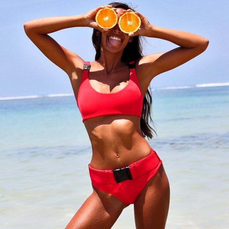 Solid color two piece bikinis with button 8
