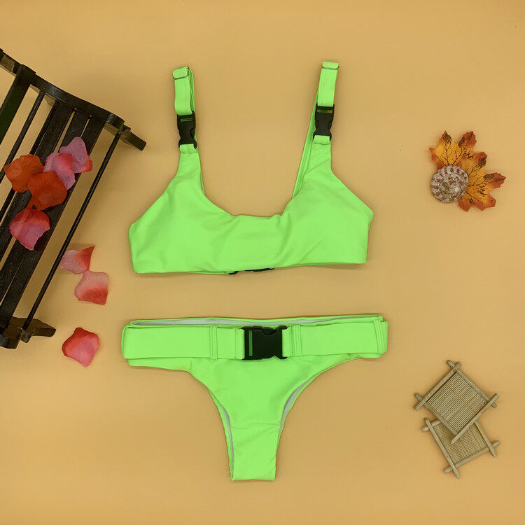 Solid color two piece bikinis with button 3