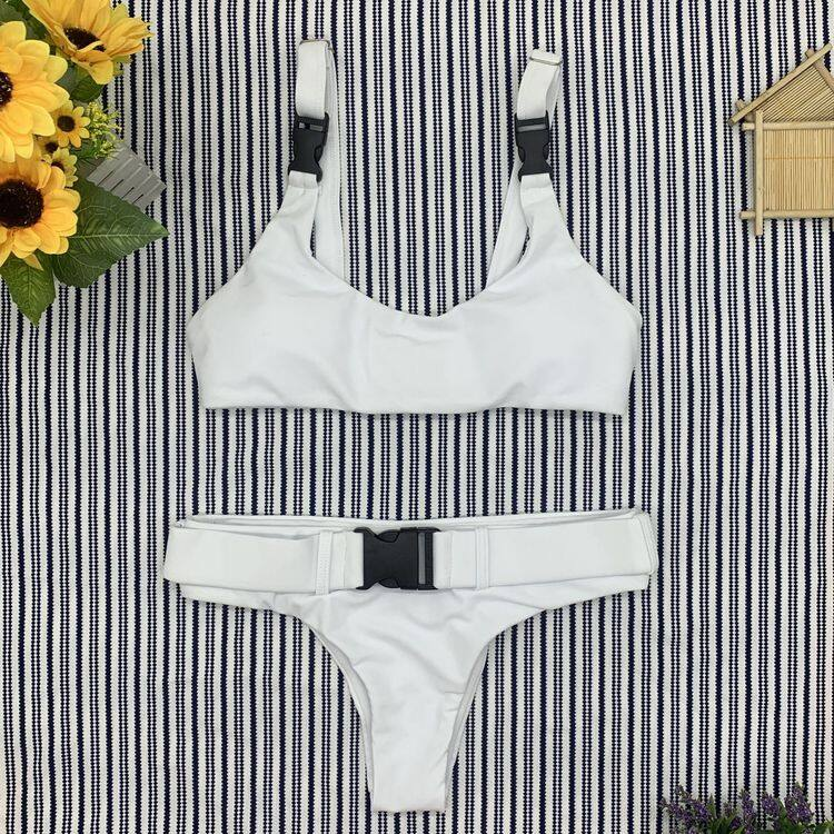 Solid color two piece bikinis with button 1