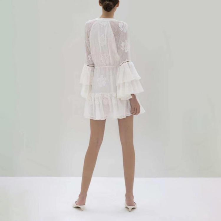 Women lace-up lace white dress short 3