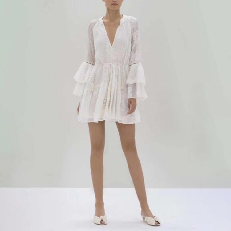 Women lace-up lace white dress short 1