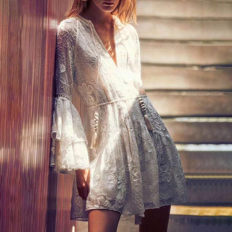 Women lace-up lace white dress short 0