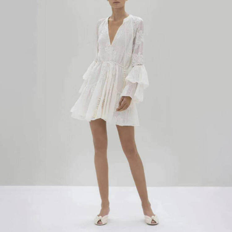 Women lace-up lace white dress short 2