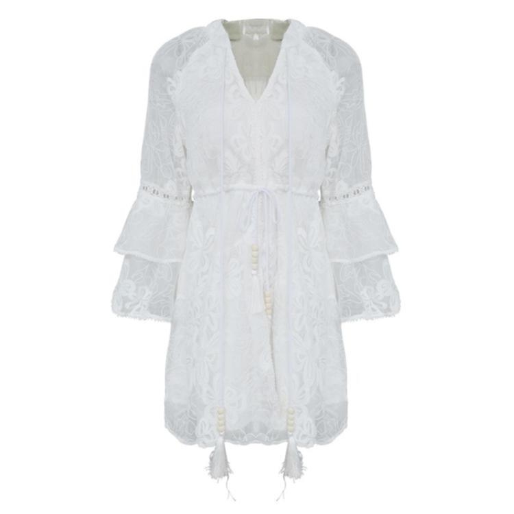 Women lace-up lace white dress short 4
