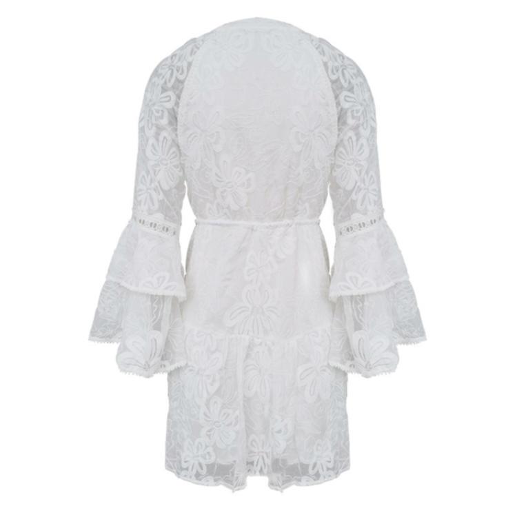 Women lace-up lace white dress short 6