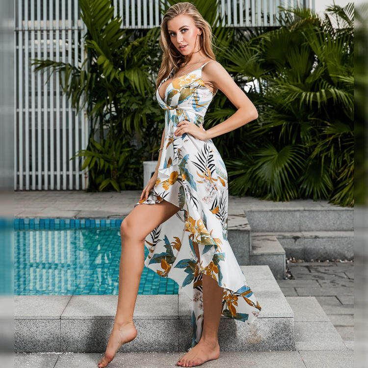 V neck floral dress long with scallops 2