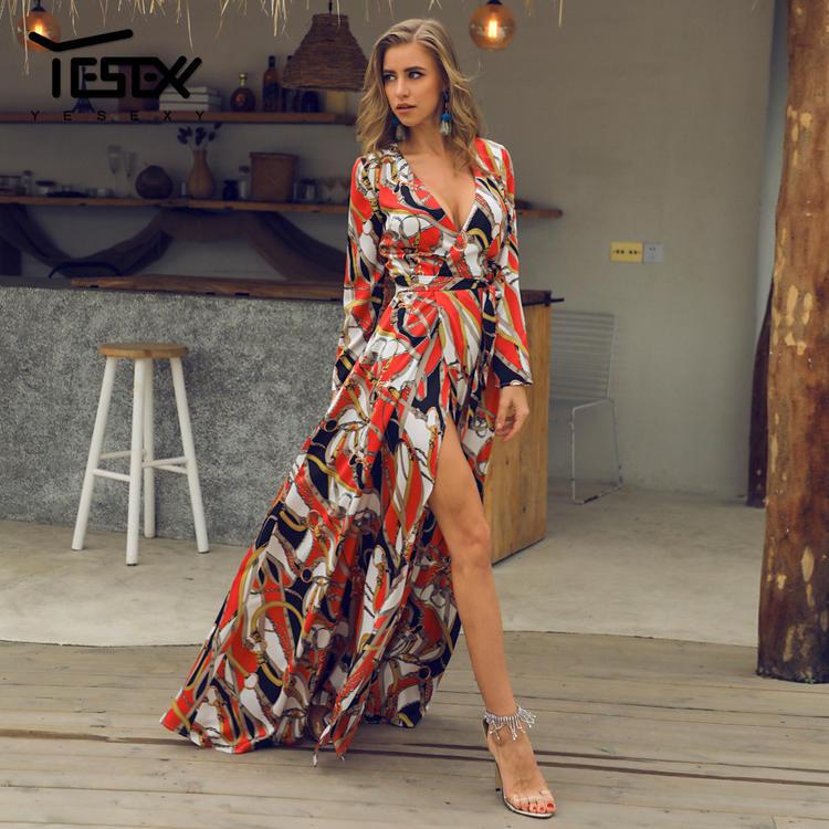 Elegant V neck long sleeves split floral dress 0