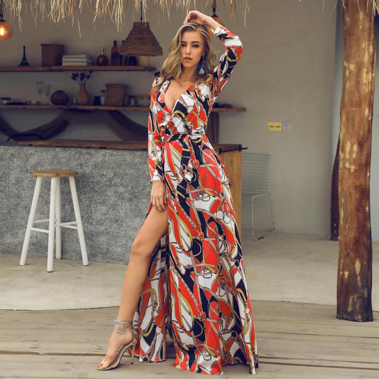 Elegant V neck long sleeves split floral dress 1