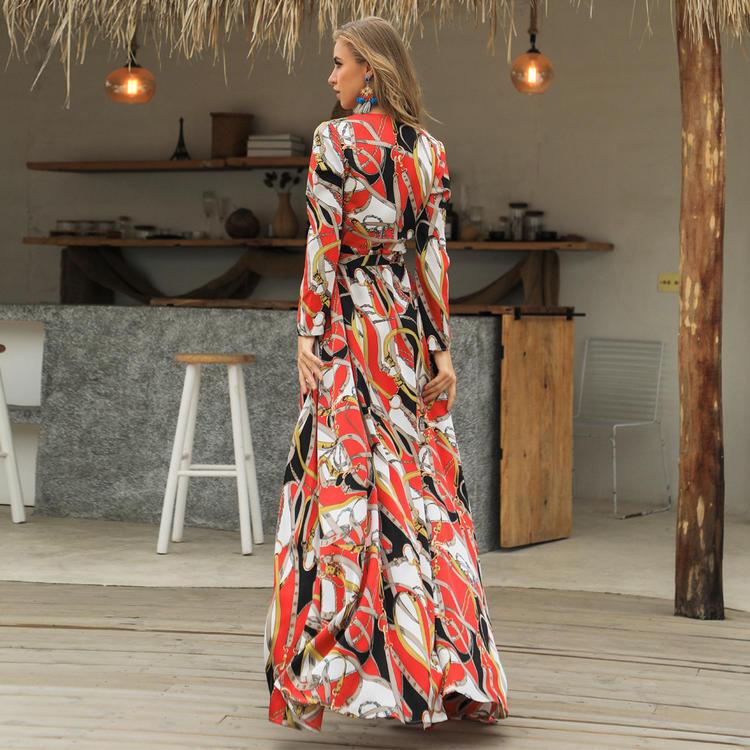 Elegant V neck long sleeves split floral dress 2