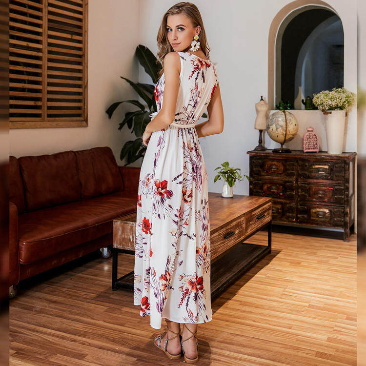 V neck sleeveless white long floral dress  4