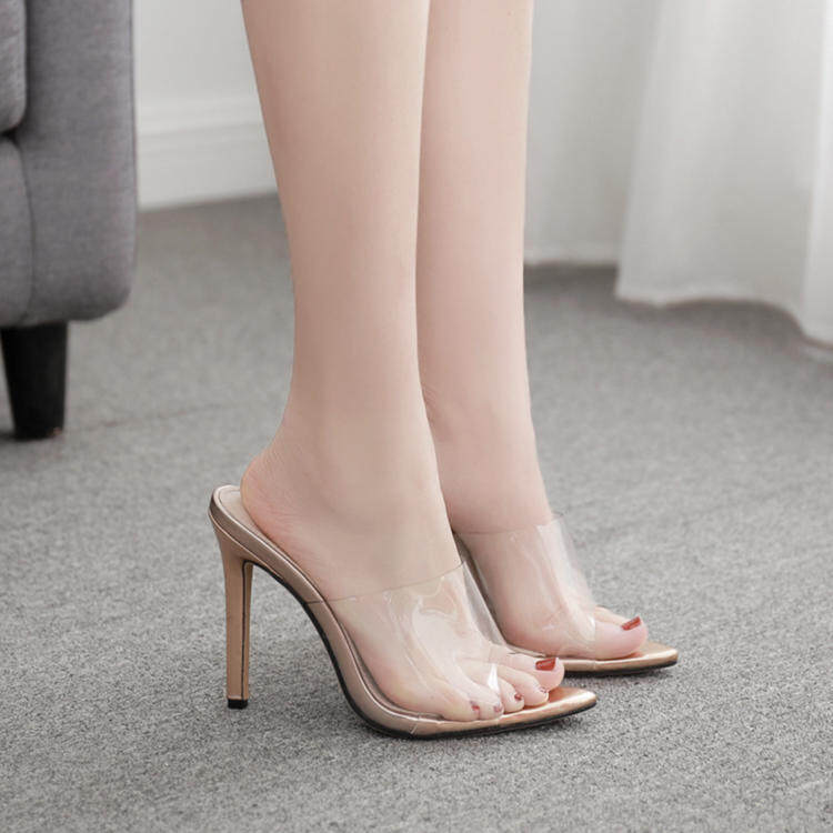 High heels clear pvc gold slippers 1