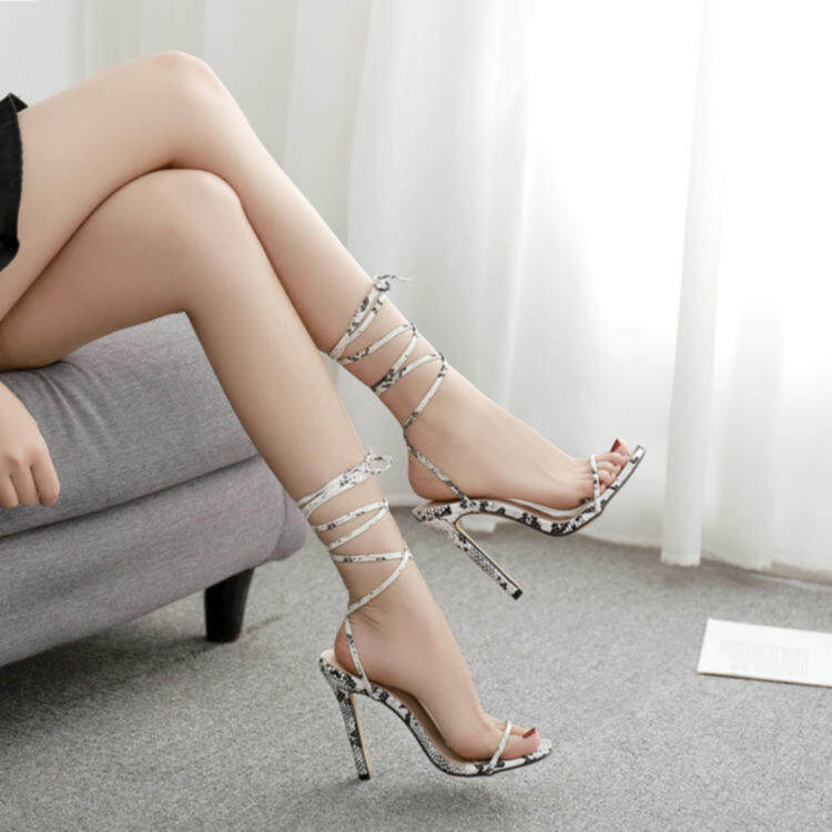 Women snake printing heels with strappy 2