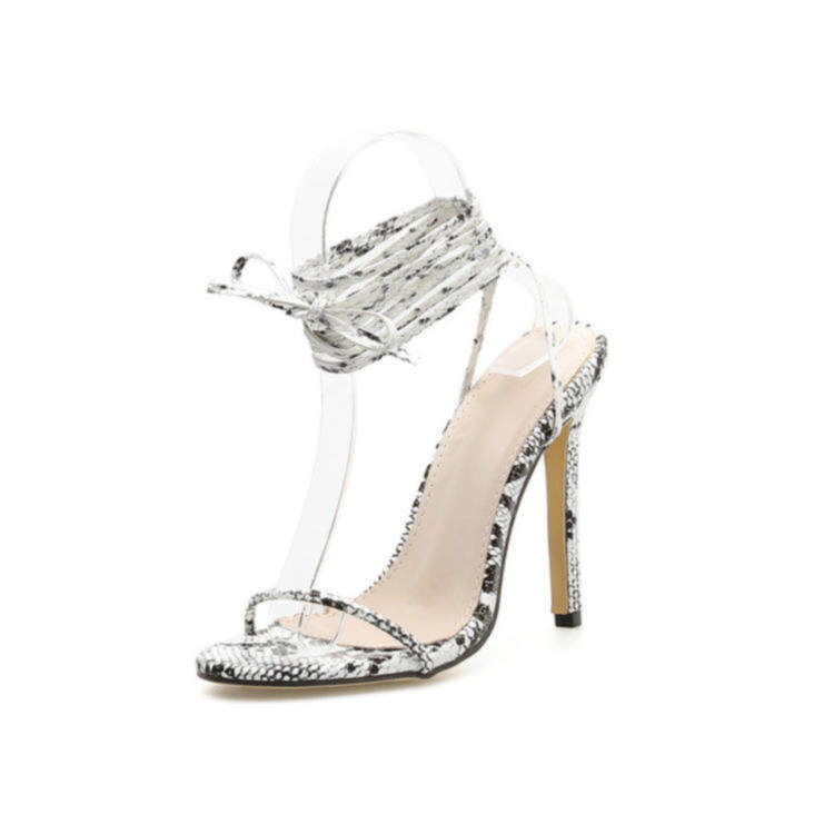 Women snake printing heels with strappy 4
