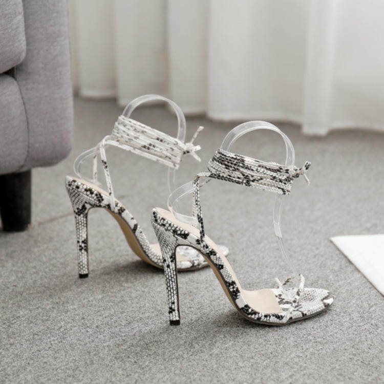 Women snake printing heels with strappy 1