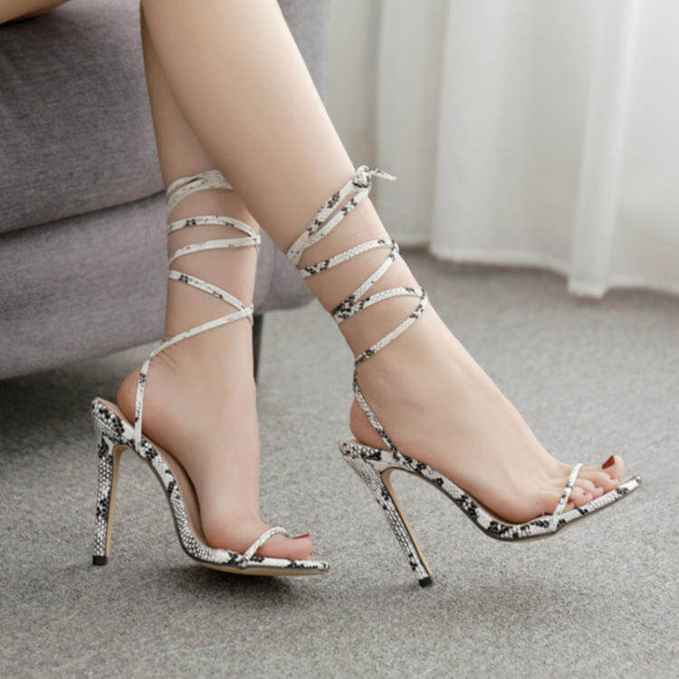 Women snake printing heels with strappy 3