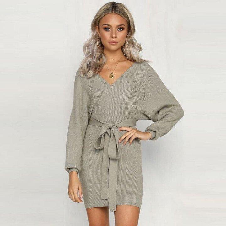 Women S V Neck Long Sleeve Dress Casual Tie Waist Sweater Dresses