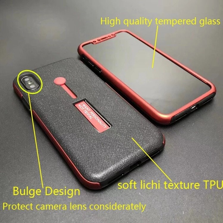 Mobile phone case TPU+PC with holder full protection cover supplier-360N07 6