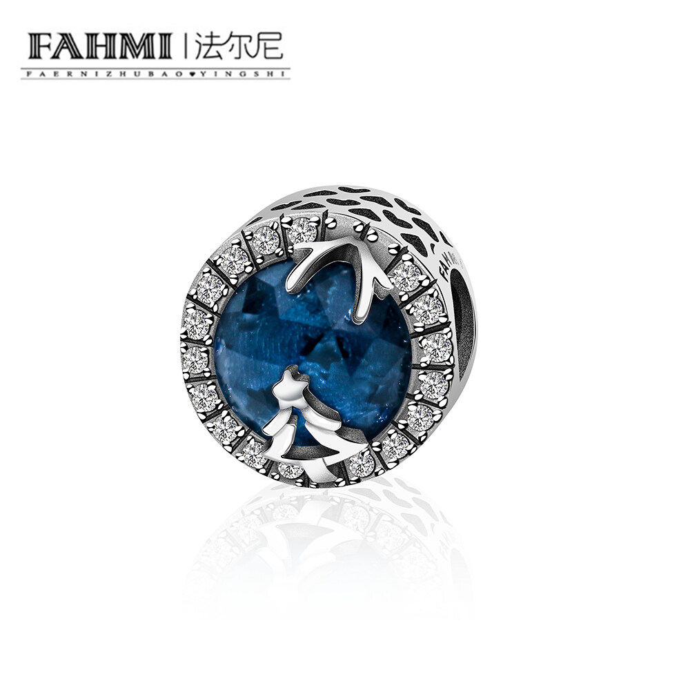 FAHMI 2018 New Arrivals 925 Sterling Silver Dazzling CZ Blue Zircon Charms Fit Original Authentic Jewelry Christmas tree Gift 0