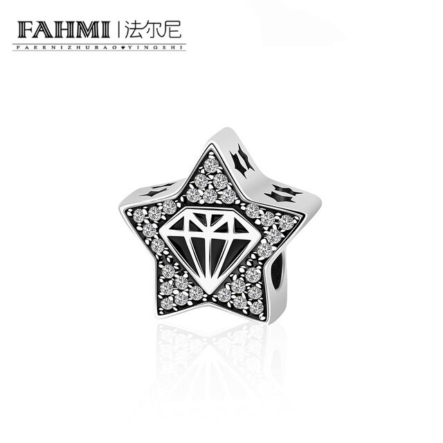 FAHMI 100% 925 Sterling Silver Diamond Model and Star Goodnight Charm Beads fit Bracelet DIY Jewelry Valentine Day Gift Y7075 0