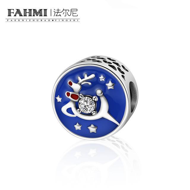FAHMI Christmas Gift 925 Sterling Silver Christmas Deer Snowflake Blue Enamel Charm fit Women Charm Bracelet DIY Jewelry Y7080 0