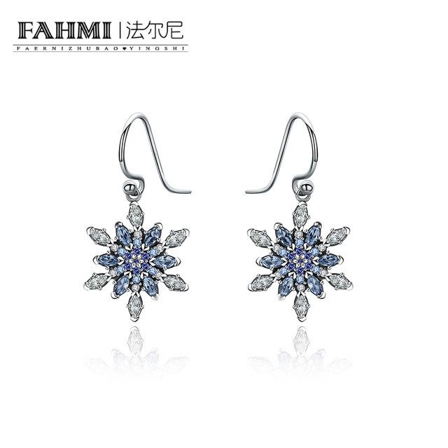 FAHMI Silver Color Crystal Long Earrings Floral Shape Chandelier Earrings Women Brides Bridesmaid Christmas Gift Free Shopping 0