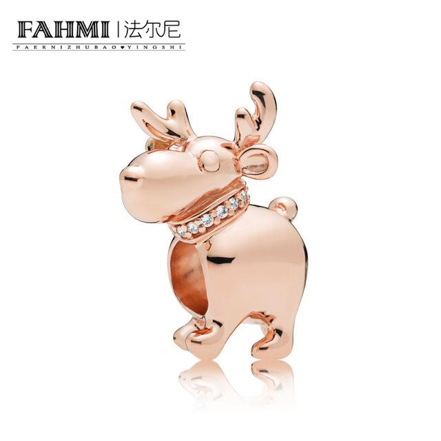 FAHMI 100% 925 Sterling Silver 787514CZ ROSE REINDEER Christmas CHARM Beaded Charm Original Jewelry Women Charming Wedding  0