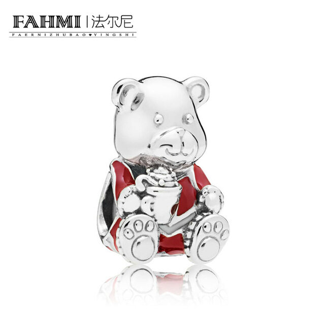 FAHMI 100% 925 Sterling Silver New 797564ENMX CHRISTMAS BEAR CHARM Beaded Original Women's Jewelry Charming Gift 0