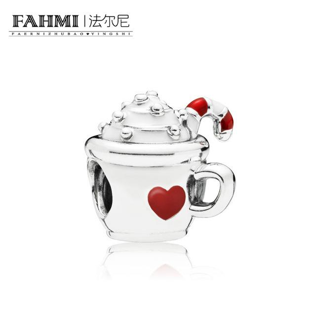 FAHMI 100% 925 Sterling Silver New Christmas 797523ENMX WARM COCOA CHARM Beaded Original Women's Jewelry Charming Gift 0