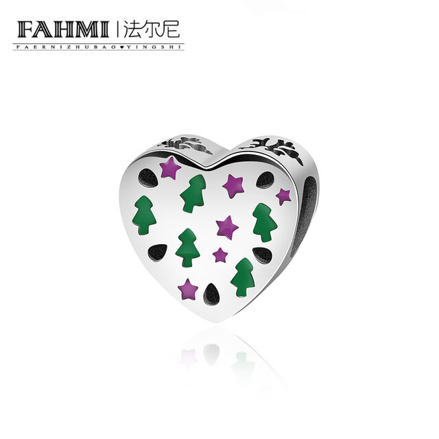 FAHMI Sterling Silver Heart Shaped LOVE Charm Carving Stars Christmas Tree Christmas Gift Pandoras Charms Silver 925 Original 0