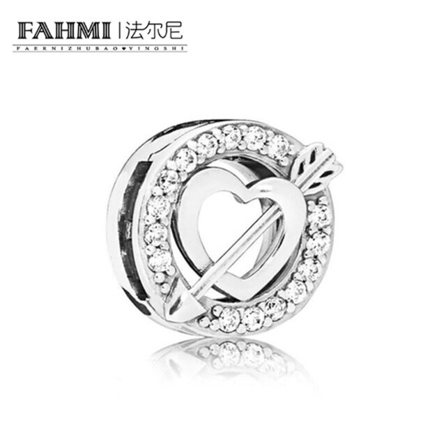 FAHMI 100% 925 Sterling Silver New 2019 Valentine's Day 797793CZ Reflexions Asymmetric Heart and Arrow Clip Charm High Quality 0
