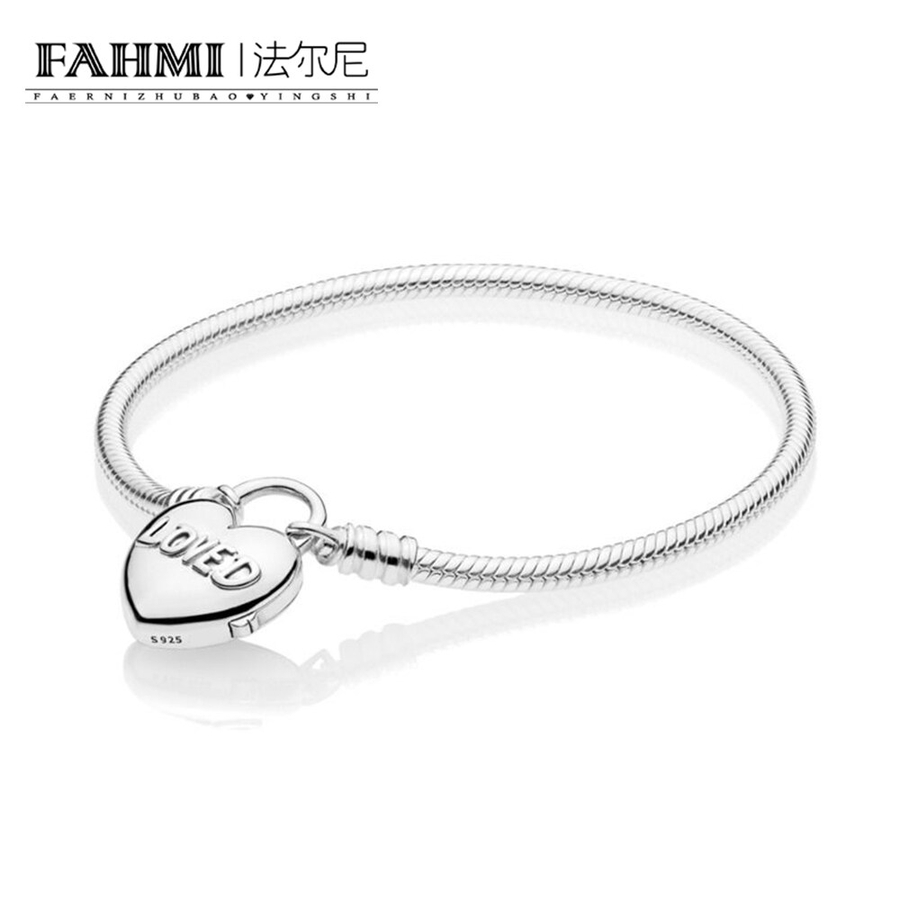 FAHMI 100% 925 Sterling Silver 597806 MOMENTS Smooth Bracelet with Loved Heart Padlock Clasp 2019 Romantic Valentine's Day Gift Free Shipping 0