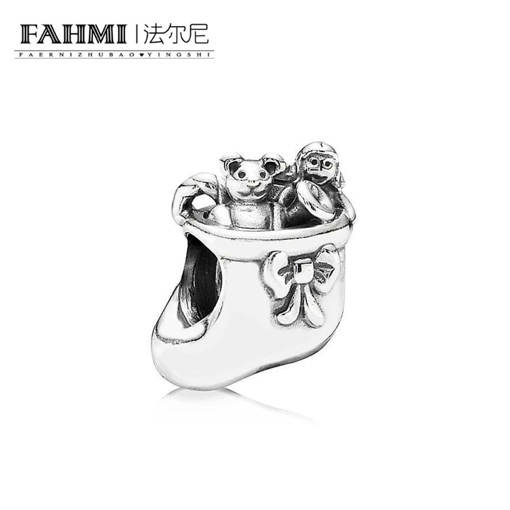 FAHMI 100% 925 Sterling Silver 1:1 791038 Christmas Stocking Charm Beaded DIY Bracelet Original Jewelry Free Shipping 0