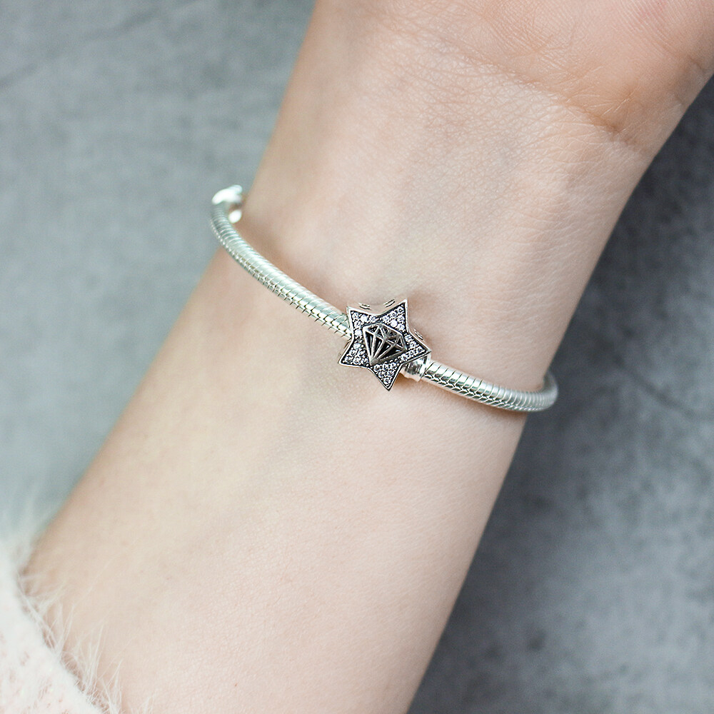 FAHMI 100% 925 Sterling Silver Diamond Model and Star Goodnight Charm Beads fit Bracelet DIY Jewelry Valentine Day Gift Y7075 5