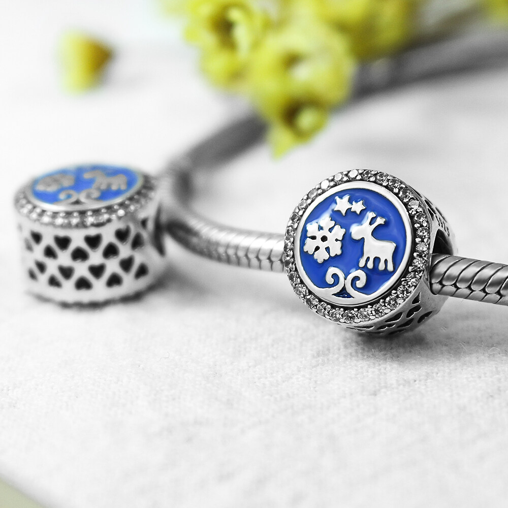 FAHMI 925 Sterling Silver Christmas Snowflakes Deer Blue Enamel Beads Charms Fit Bracelets Gifts For Women Fashion Jewelry  1