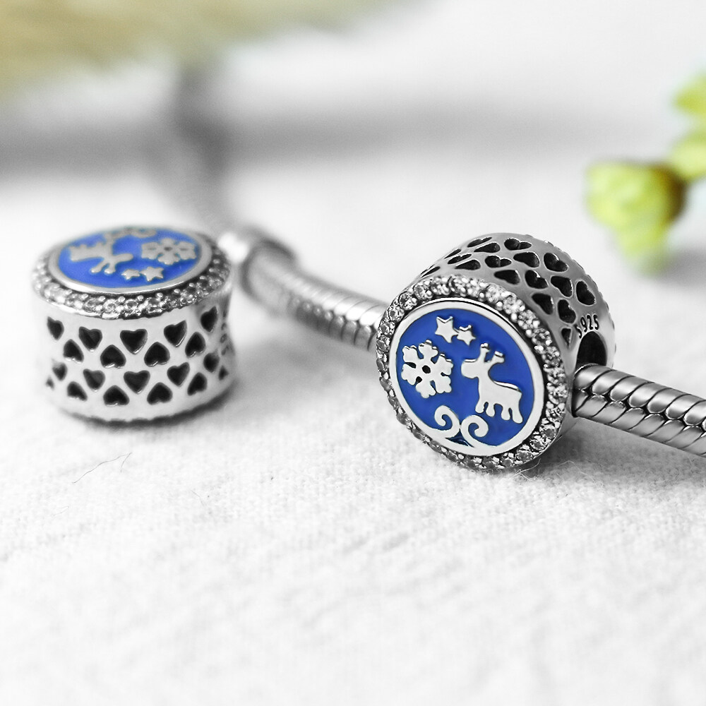 FAHMI 925 Sterling Silver Christmas Snowflakes Deer Blue Enamel Beads Charms Fit Bracelets Gifts For Women Fashion Jewelry  2