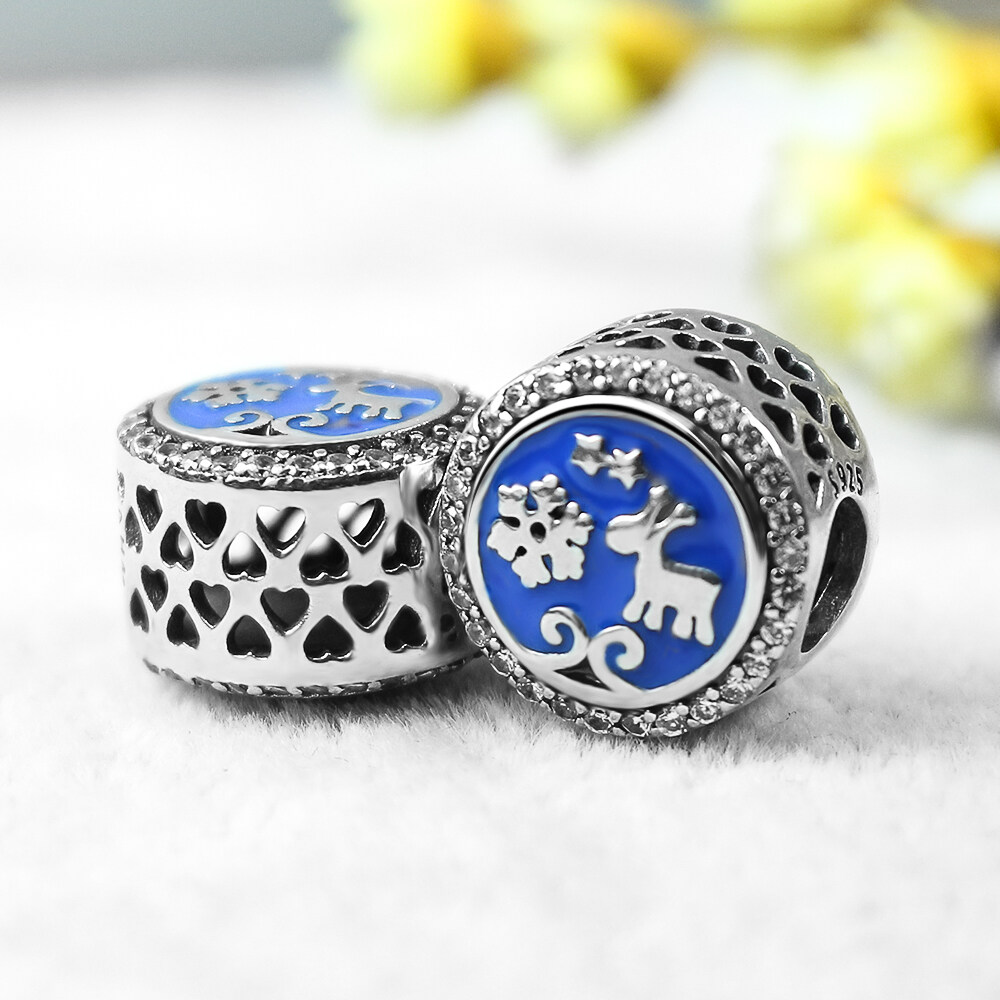 FAHMI 925 Sterling Silver Christmas Snowflakes Deer Blue Enamel Beads Charms Fit Bracelets Gifts For Women Fashion Jewelry  3