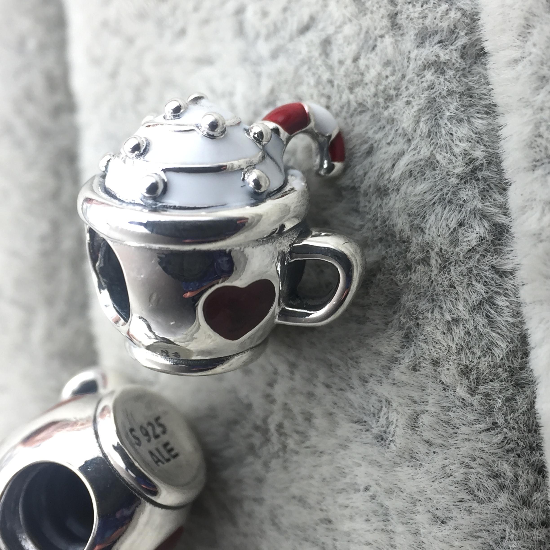 FAHMI 100% 925 Sterling Silver New Christmas 797523ENMX WARM COCOA CHARM Beaded Original Women's Jewelry Charming Gift 1