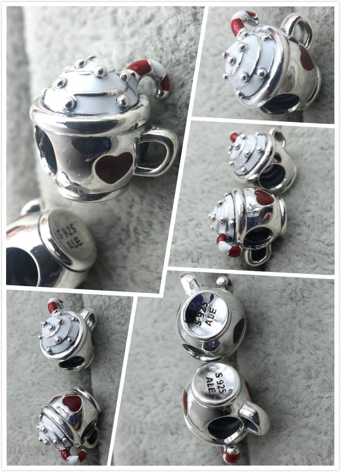 FAHMI 100% 925 Sterling Silver New Christmas 797523ENMX WARM COCOA CHARM Beaded Original Women's Jewelry Charming Gift 10