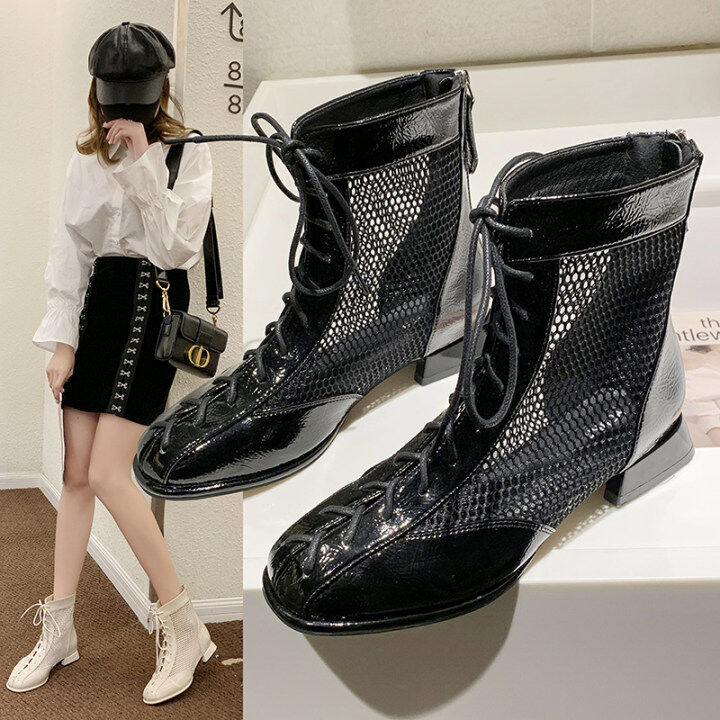 Leisure Inside Wedges Shoes Med Heel Air Mesh Summer Boots Women Sandals Female Ankle Boots