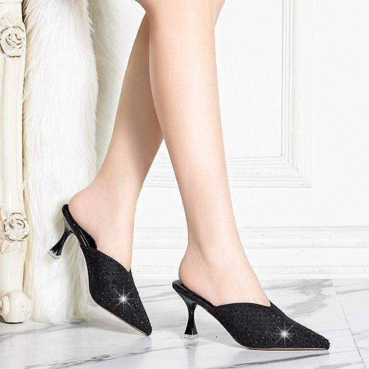 Spring Office Shoes Women High Heels Pump 5CM Slip on Sandals Sandalias Comfortable Ladies Tenis White High Heels