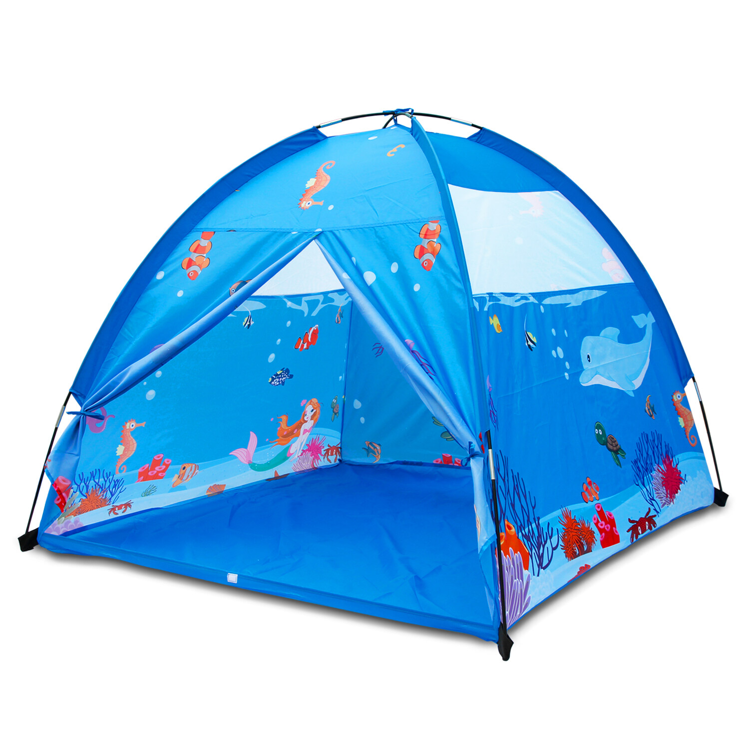 ALP Play Tent For Kids 150x150CM Dome Style Playhouse For Children Indoor Outdoor Ocean Sea World Pattern Toy For Boys and Girls Play At Christmas Day Beach Tent (Blue)